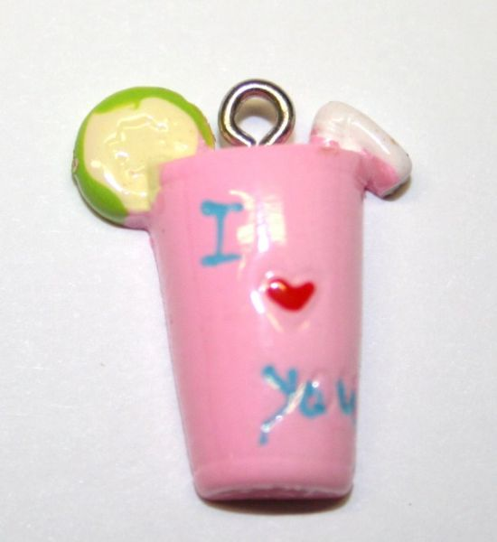 ILY PINK DRINK FOOD CHARM 20MM X 10MM CHFD1036